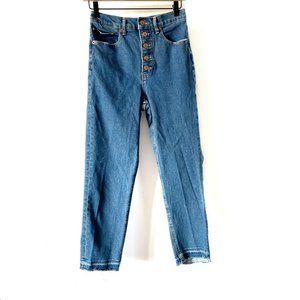 Express Mom Jeans Super High Rise Size 4R Raw Hem